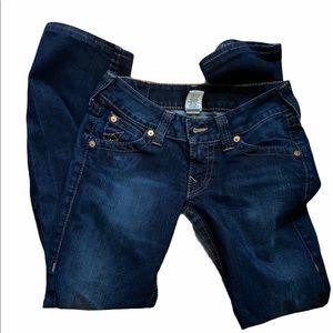 True Religion size 27/32 boot cut jeans.